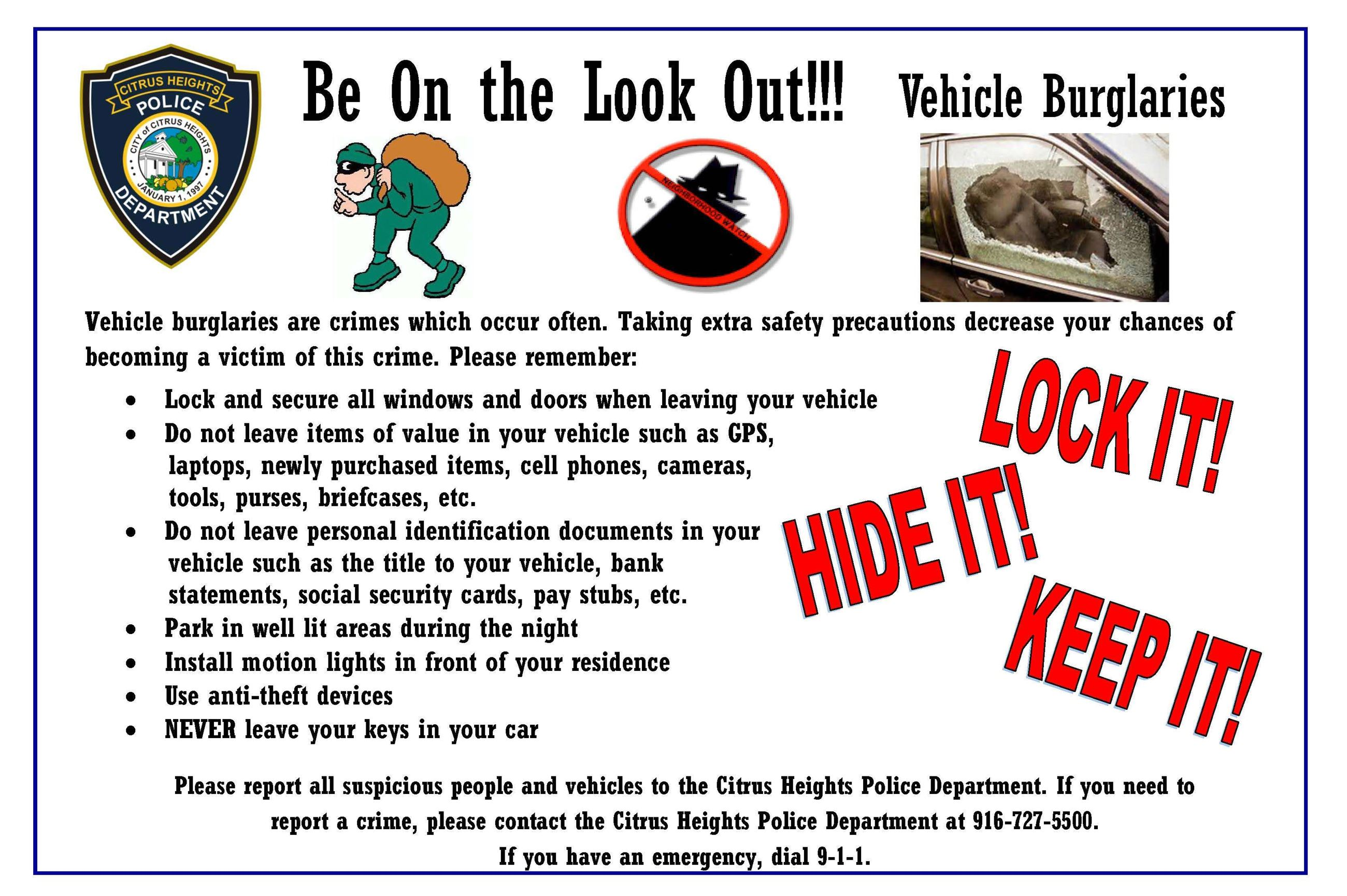 vehicle burglary tips