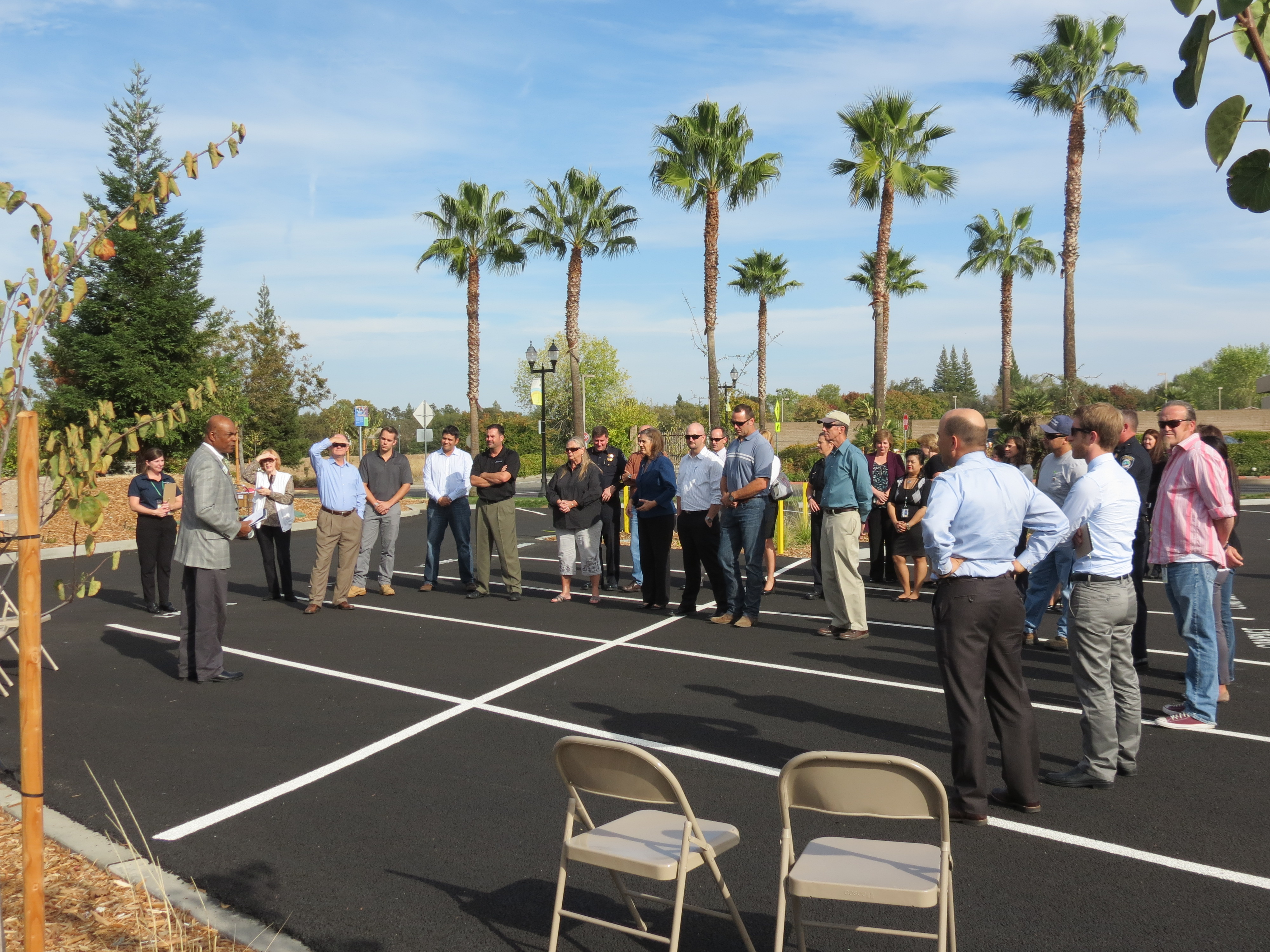 Gathering for the ribbon cutting ceremony
