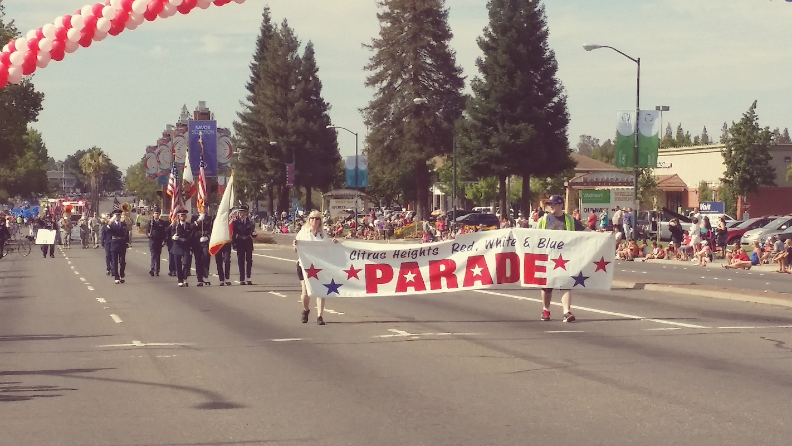 The official parade banner